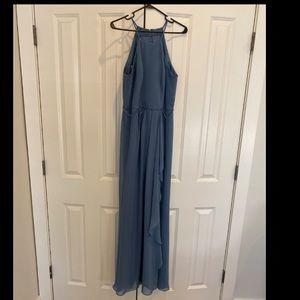 "Steel blue sleeveless ""cascade"" bridesmaid dress"